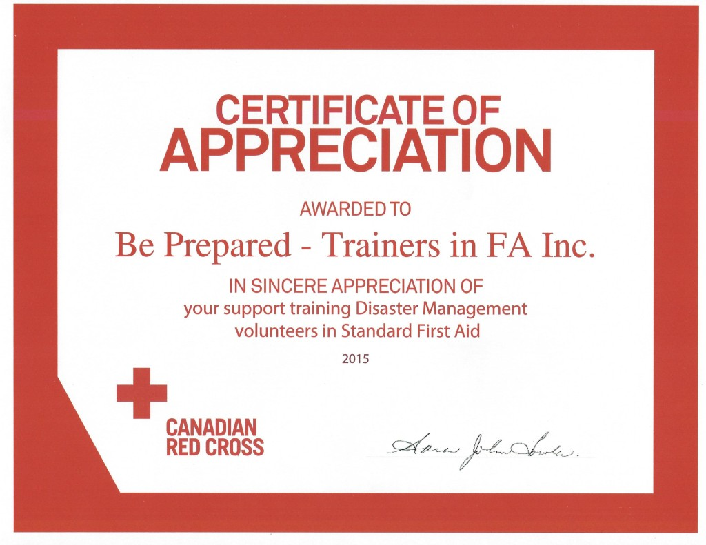 Canadian Red Cross Certificates Of Appreciation 2015 Be Prepared